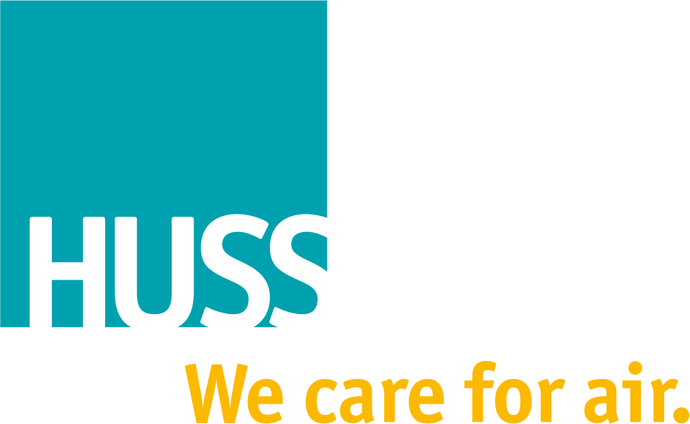 HUSS Logo mit Slogan: We care for air.