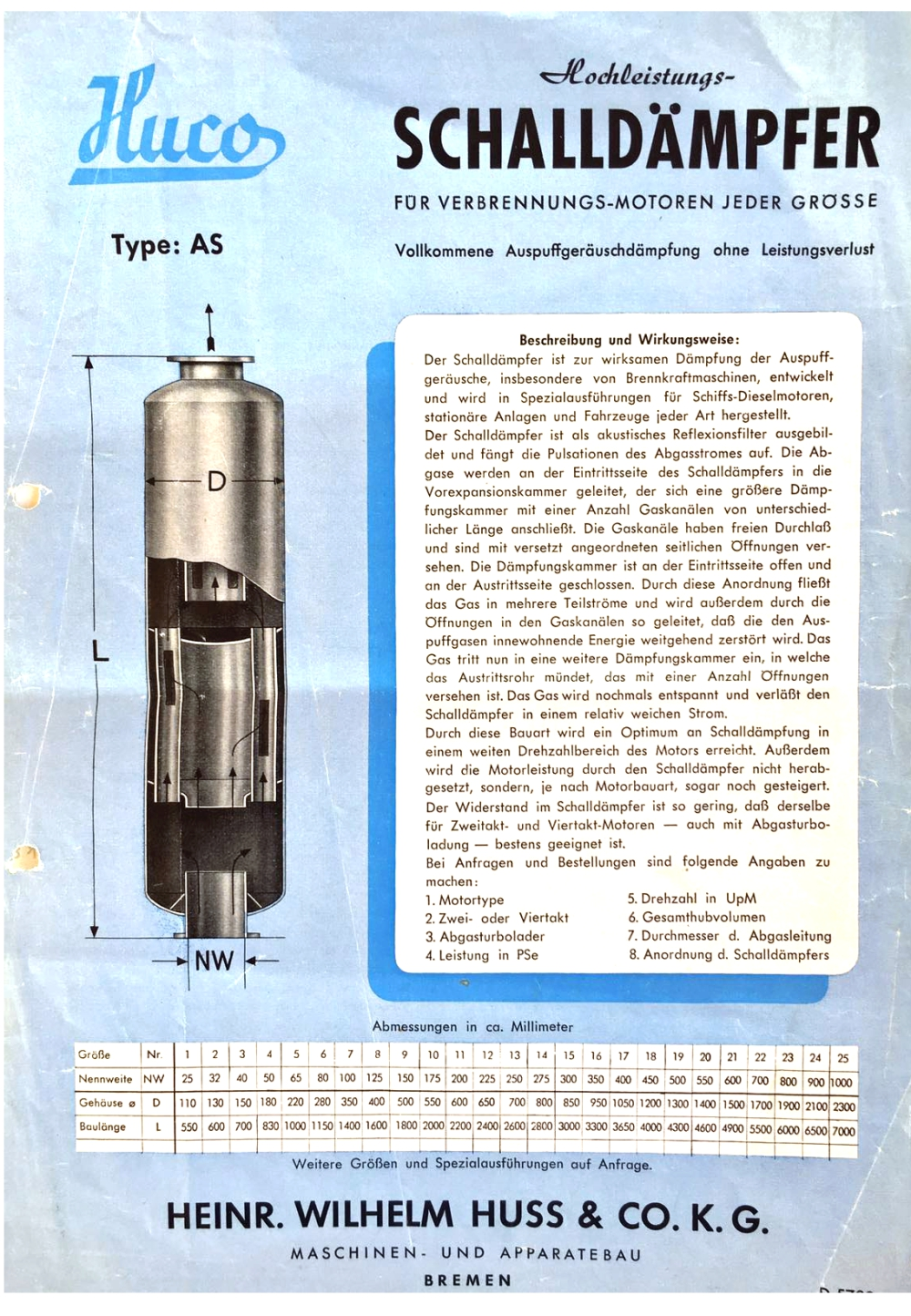 HUSS silencer brochure from the 1930s